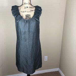 J. Crew Grey Silk Linen Ruffle Sleeveless Dress 12